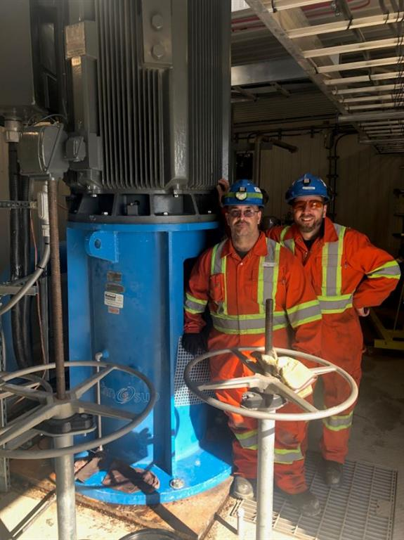 Repaired vertical turbine pump installation